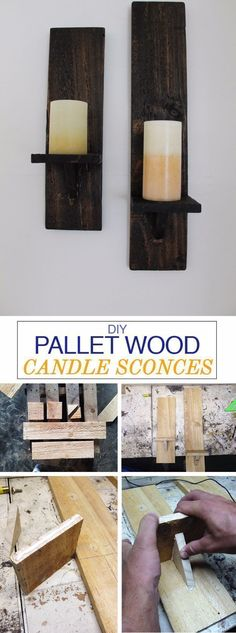 Best DIY Pallet Furniture Ideas - DIY Pallet Wood Candle Sconces - Cool Pallet Tables, Sofas, End Tables, Coffee Table, Bookcases, Wine Rack, Beds and Shelves - Rustic Wooden Pallet Furniture Made Easy With Step by Step Tutorials - Quick DIY Projects and Crafts by DIY Joy http://diyjoy.com/best-diy-pallet-furniture-ideas #woodworkingprojects #WoodworkingPlansWineRack #palletfurnitureeasy #rusticfurniturediy #wineracks #coolwoodprojects #diyfurniture #candles #diysofa #sofaideas…
