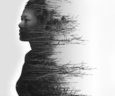 Double exposure portrait of young woman and dried forest by Naruedom Y on 500px