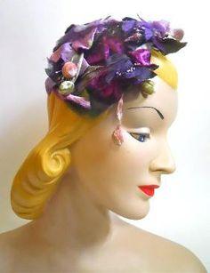 Purple Grapes and Petals Headband Hat circa 1950s - Dorothea's Closet Vintage