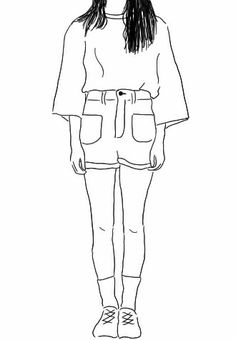 oversized shirts r rockin Tumblr Drawings, Easy Drawings, Minimalist Drawing, Poses References, Wow Art, Simple Art, Line Drawing, Art Inspo, Art Girl