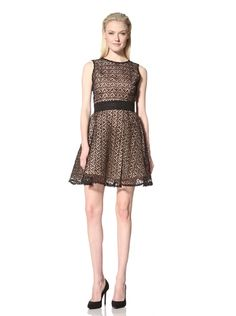 71% OFF RODARTE Women\'s Fit-and-Flare Dress (Black/Nude)