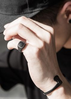 Newly released // the Bold in Matte Black Accessories are now available at Vitality. Contemporary rings and bracelets tailored to the sleek and unique - a perfect purchase for any trendsetter. Hand Accessories, Best Mens Fashion, Rings For Men Fashion, Bracelets For Men, Leather Bracelets, Matte Black, Black Onyx, Men's Briefcase, Leather Briefcase