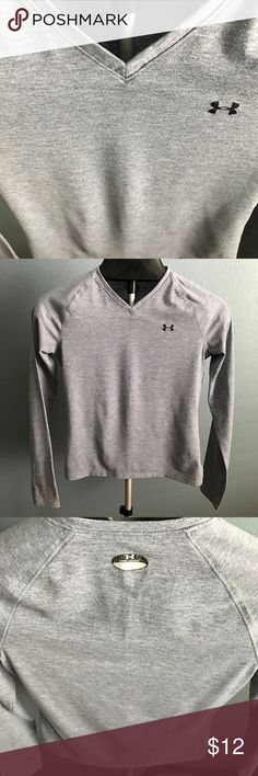 Saturday Sale! Under Armour long sleeve tee Gray long sleeve Under Armour tee. V-neck. Runs very small in my opinion! 95% polyester, 5% elastane. Under Armour Tops Tees - Long Sleeve