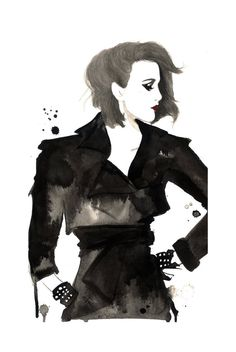 Print from original watercolor and pen fashion illustration by Jessica Durrant titled, Disobey. $26.00, via Etsy.