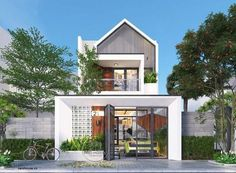 New exterior renovation modern architecture ideas Small House Design, Modern House Design, Modern Shop, Facade Design, Exterior Design, Entrada Frontal, Narrow House, Box Houses, Exterior House Colors