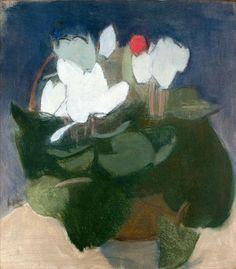 Helene Schjerfbeck (Finnish, 1862–1946) Cyclamen in a vase (Syklaami maljakossa), 1940-41 Oil on canvas Didrichsenin taidemuseo. Valok. Rauno Träskelin, Helsinki