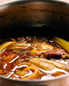 """In classical French cooking, brown stock is made with veal bones for a delicate-bodied soup; here, beef is added for a deeper flavor. To make a traditional version, simply replace the beef with more veal bones. This recipe is from the """"Martha Stewart's Cooking School"""" cookbook."""