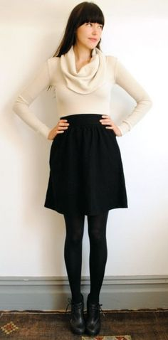 Margot Skirt - $92  www.curatorsf.com  100% Organic Cotton herringbone skirt with slight gathers at waistband. Hidden pockets at side seams and center back zip closure.