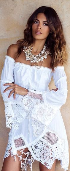 White bardot dress with lace edge and pearl necklace, boho style. bardot-dress summer-dress