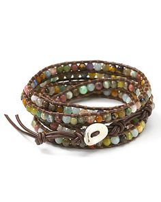 Chan Luu Semiprecious Stone-Embellished Leather Wrap Bracelet