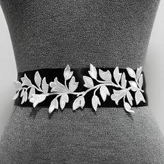 Leaf belt, Bridal belt, Wedding belt, Dress belt, Sash belt, Bridesmaid belt, White leaf embroidery bridal sash, Ribbon sash, Wedding sash by MagicSashAccessories on Etsy https://www.etsy.com/hk-en/listing/270876264/leaf-belt-bridal-belt-wedding-belt-dress?ref=shop_home_active_6