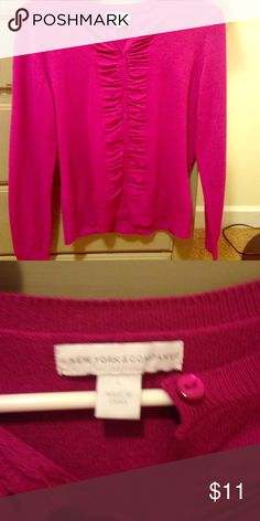 New York & Co. Magenta Ruched Cardigan Perfect condition. Button up. Ruching detail along buttons. New York & Company Sweaters Cardigans