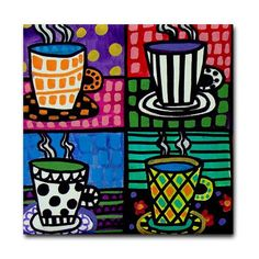 Coffee Cups Art Tile Ceramic Coaster by by HeatherGallerArt, $20.00