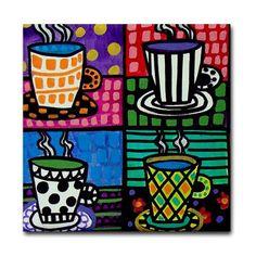 Coffee Cups Art Tile Ceramic Coaster by by HeatherGallerArt, $20.00