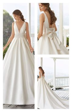 Classic sienna wedding dress with beaded lace at the waist. Deep-plunge neckline, square back and bow. wedding gown CABAK by Rosa Clara – Bridal Dresses Western Wedding Dresses, Elegant Wedding Gowns, Classic Wedding Dress, White Wedding Dresses, Bridal Dresses, Princess Wedding Dresses, Wedding Dress Bow, Wedding Bride, Fall Wedding