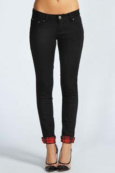Tallulah 7/8 Skinny Jeans With Tartan Trim Turnups at boohoo.com