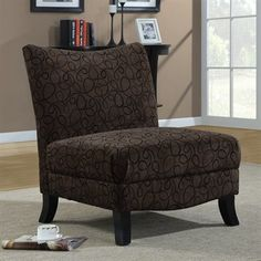 An accent chair can compliment the colours in a room. It's available in brown, tan or leather fabric.