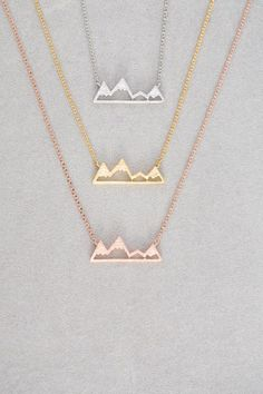 Mountain charm necklace for the woman of the outdoors. Rose gold