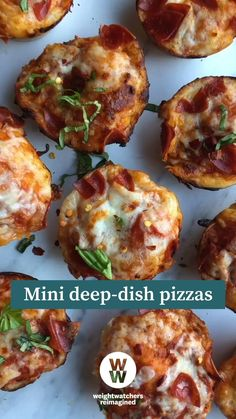 Weightwatchers Recipes, Bariatric Recipes, Ww Recipes, Cooking Recipes, Healthy Habits, Healthy Snacks, Appetizer Recipes, Appetizers, Pizza Muffins