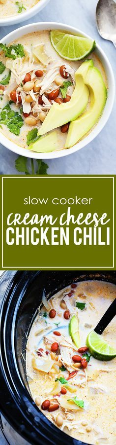 Slow Cooker Cream Cheese Chicken Chili