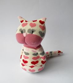 plush cat. sock animal, plush animal doll, pink hearts, sock creature, soft sculpture, Rosie