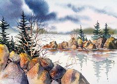 Rocky Shore. Watercolor, 15 x 22