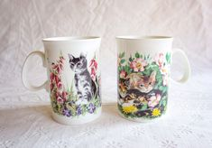 Porcelain Cat Mugs, Vintage Bone China Coffee Cups