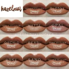 LipSense distributor Perpetual Pucker Hazelnut with all the glosses Lipsense Lip Colors, Lipstick Colors, Glitter Roses, Silver Glitter, Bougainvillea, Brown Matte Lipstick, Best Lip Gloss, Kiss Proof, Beautiful Lips