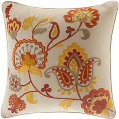 Home Essence Golden Harvest Embroidered Square Pillow, Beige