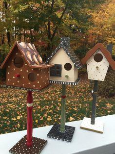 Decorative Autumn Harvest Birdhouses (Set of 3)