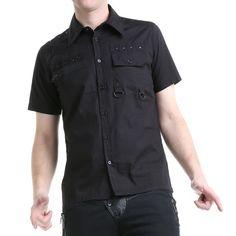 Camisa Gótica Chico Negra con Tachuelas | Crazyinlove España