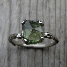 Green Sapphire Twig Engagement Ring: 2.75ct, Rose Cut, White Gold by KristinCoffin on Etsy