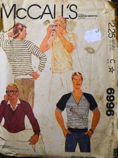 Vintage Sewing Pattern McCall's 6996  Men's Shirts Chest 38-40 inches Uncut  Complete by GoofingOffSewing on Etsy $5