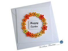 Kartka Wielkanocna z Wieńcem Kwiatowym / Easter Card with Flower Wreath