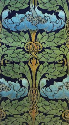 Textile design produced by G C Haite for A H Lee & Sons in 1903. A beautiful example of Art Nouveau design in textiles.