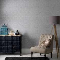 Province Gray Wallpaper - Gray Damask Wall Coverings by Graham  Brown