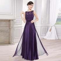 Vestido De Festa Plissado Com Renda. Púrpura. Ever-pretty!!