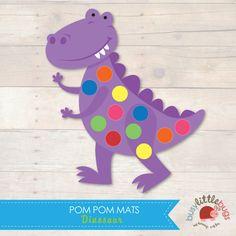 Dinosaur Pom Pom Mats great for fine motor skills by Busy Little Bugs Pom Pom Mat, Art For Kids, Crafts For Kids, 4 Kids, Dinosaurs Preschool, Dance Themes, Do A Dot, Dinosaur Crafts, Preschool Printables