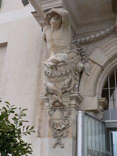 Pierre Paul Puget (1620 – 1694). Caryatids sculpted by Pierre Puget, now at the main entrance of the Toulon City Hall. Toulon,  Provence-Alpes-Côte d'Azur - France