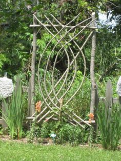 This is a home-made willow arbor for a clematis (Photo credit; unknown)