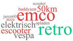 Over welke emco scooter gaat deze wordcloud? Vespa Retro, Calm