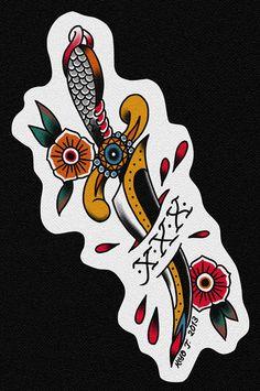 Traditional Bear Tattoo, Traditional Dagger Tattoo, Traditional Tattoo Flash, Straight Edge Tattoo, Marvel Tattoo Sleeve, Simple Tattoo Fonts, Geometric Tattoo Skull, Tatuagem Old Scholl, Cherry Blossom Drawing