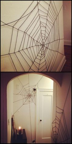 halloween costumes college DIY Very Cheap and Easy Yarn Spiderweb Tutorial from Crafty Lumberjacks. For the cost of a cheap skein of yarn, transform the interior of your house or apartment. Spooky Halloween, Halloween Veranda, Halloween Office, Fete Halloween, Halloween Ornaments, Halloween Crafts For Kids, Halloween Birthday, Adult Halloween, Holidays Halloween