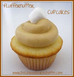 Peanut Butter Marshmallow Fluffernutter Cupcakes {Small Batch - Yield 8}