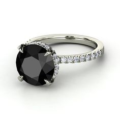 "5ct Round Black Diamond Ring with Diamond accents as worn by ""Carrie Bradshaw"" in Sex in the City 2"