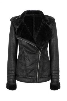 Coat with Faux-shearling Collar - US$49.95 -YOINS