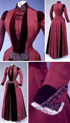 1888 Afternoon dress by C.E. Lee, Boston. Maroon velvet and ribbed silk, hand-stiched and machine-sewn, vestigial bustle built into lower back area of separate petticoat to provide skirt fullness. Princess-line silhouette. Eight pieces make up bodice, a testimony to intricate tailoring. Via Memorial Hall Museum.