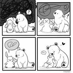 Cute Couple Comics, Couples Comics, Bunny And Bear, Cute Bears, Love Can, Cupid, Cute Couples, Rabbit, Creatures