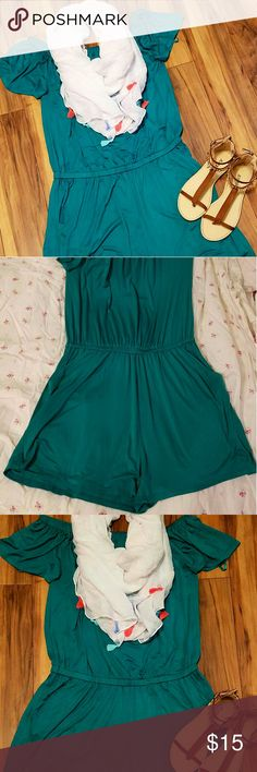 Just Fab Romper/Jumper NWOT New Green Romper with pockets from JustFab. It didn't look right on me, that happens alot being only 5ft tall. Website has XL listed as 12-14 but this has alot of stretch, I think it would fit a 16 also. Can be worn on or off the shoulders. I tried it on and it's REALLY comfortable! Listed at over $50 but was $39.99 with membership. JustFab Shorts