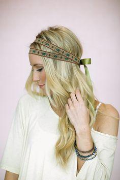 Layered Ribbon Headband - Double Strand Ribbon Headband - Indian Bohemian Tie On Hair Bands for Women (HB-112)